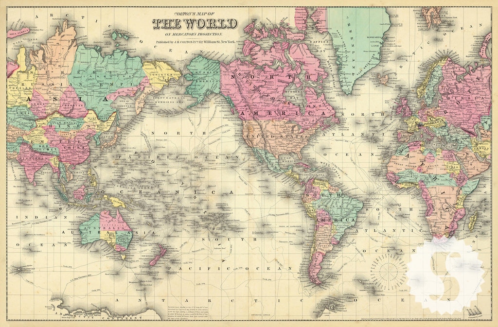 Wall mural poster old vintage antique Colorful World Map