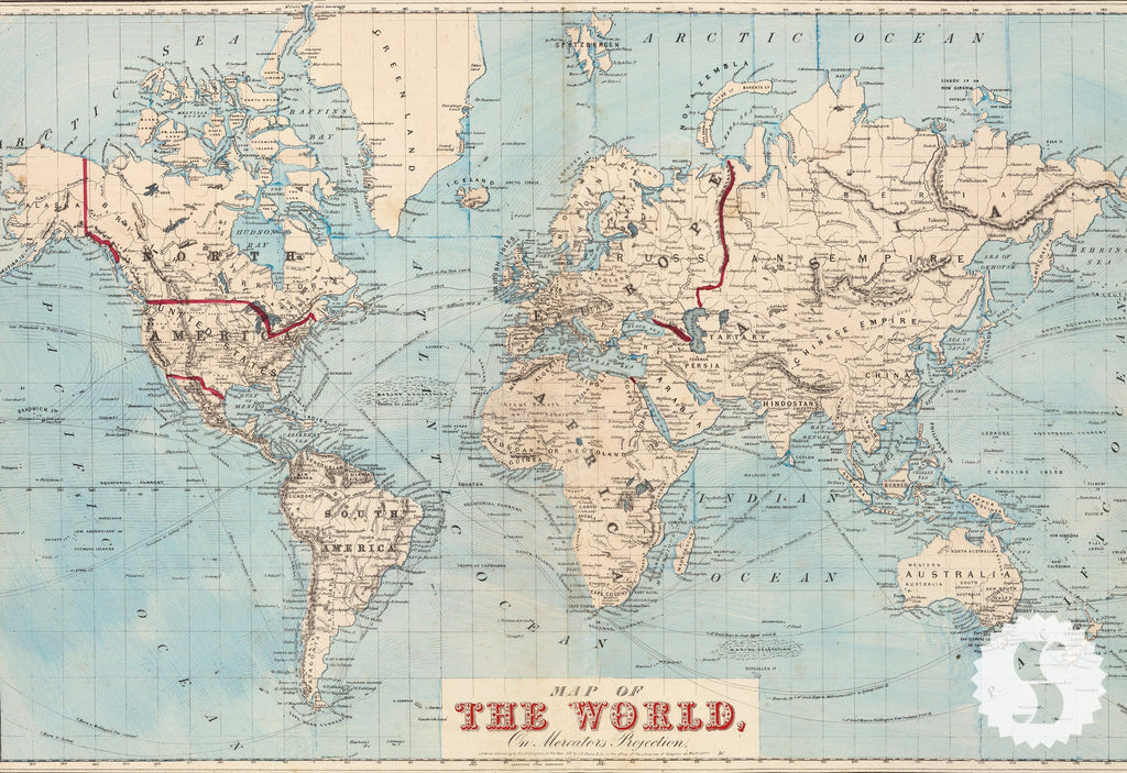 Wall Mural Poster Old Vintage Antique Maps Of The World Baby - World map for sale