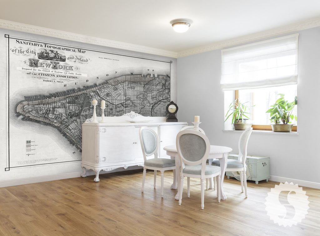 Map Wall Mural wall mural poster old vintage antique new york city maps nyc