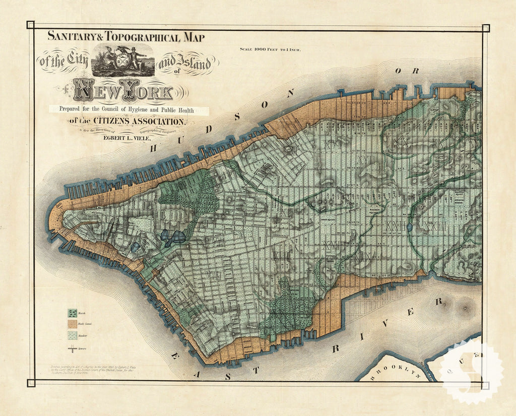 Wall Mural Poster Old Vintage Antique New York City Maps Nyc