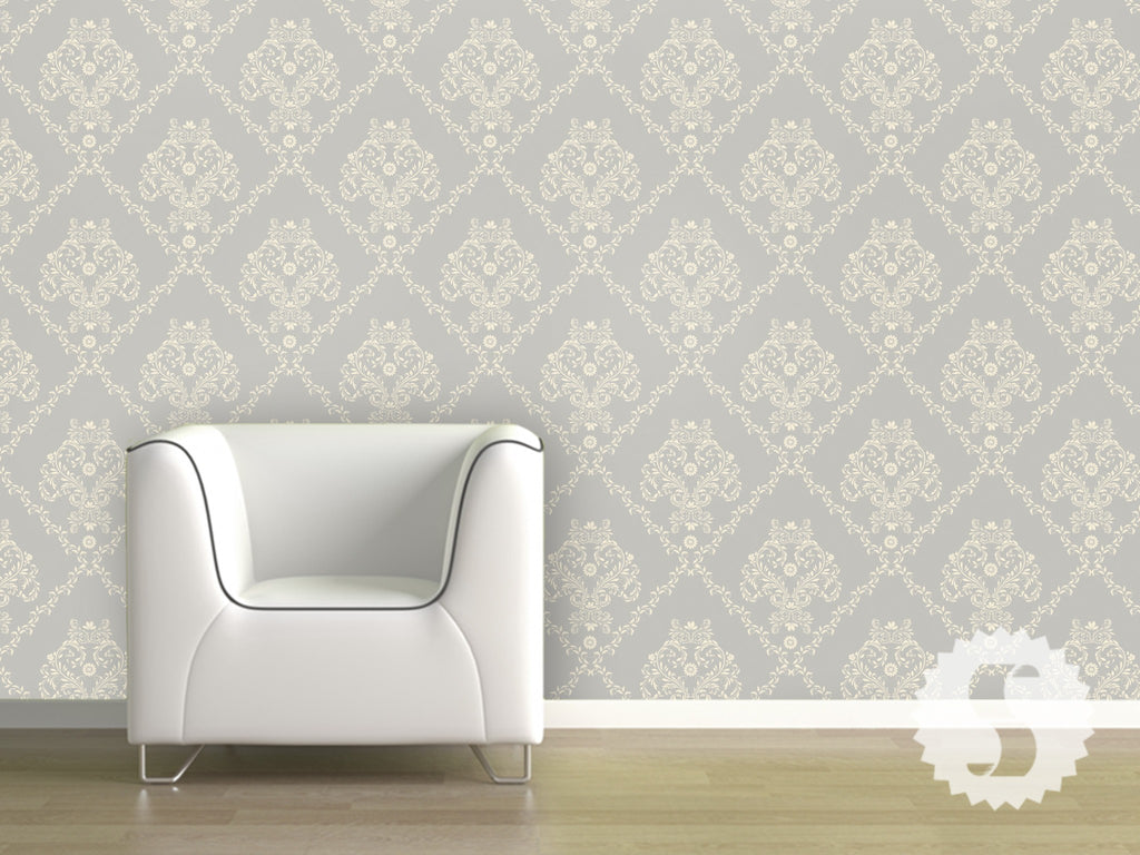 Wallpaper temporary removable wallpaper traditional damask for Temporary wallpaper