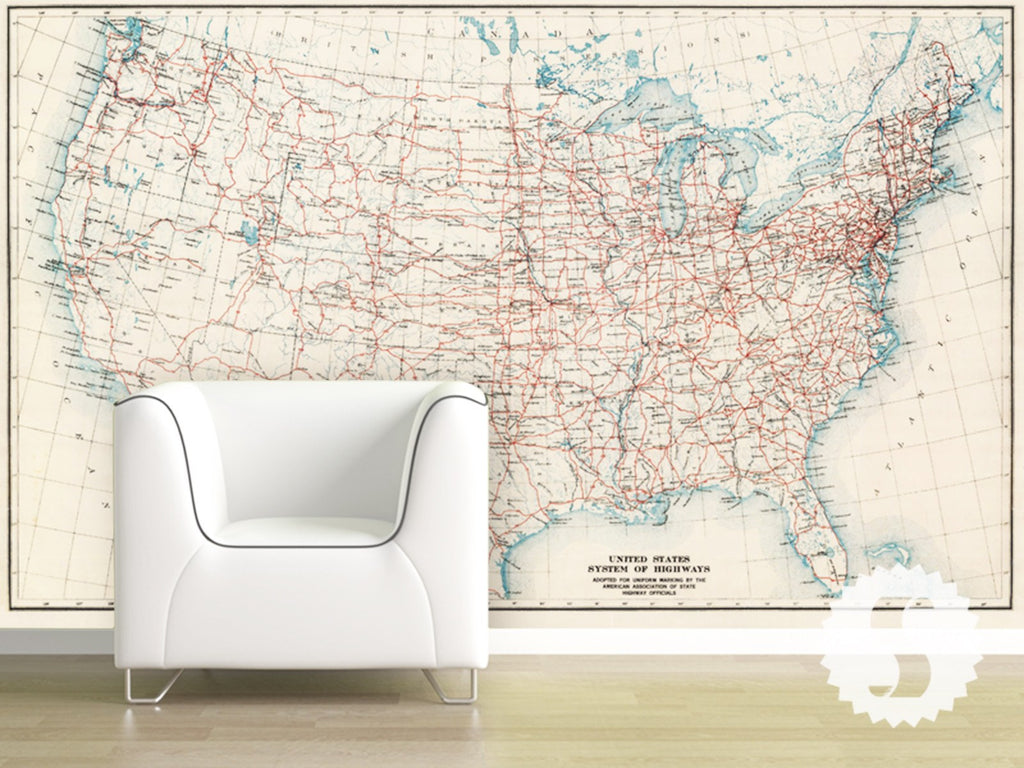 Wall Mural Poster Old World Us Vintage Antique Historic Maps - Large us road wall map