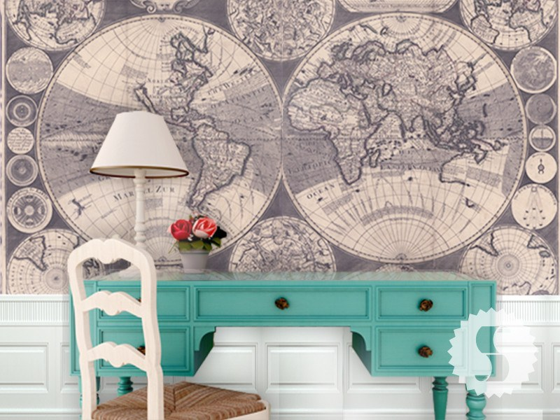 1702 Old World Map Wall Mural
