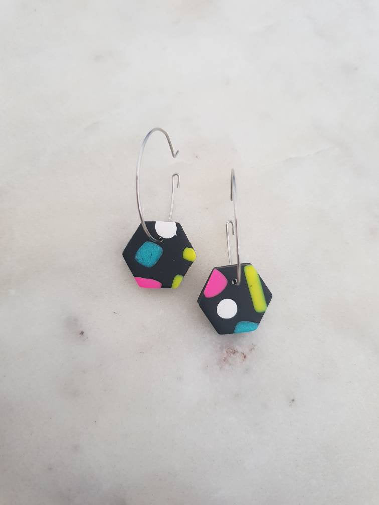 Abstract - Delicious 90's Hexagon Hoops - mini