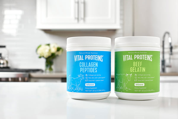 Two canisters of Vital Proteins Collagen are on the counter in a kitchen