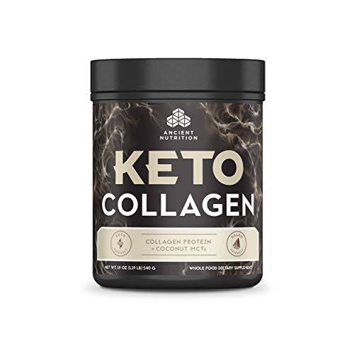 Ancient Nutrition KetoCOLLAGEN Powder, Keto Diet Supplement, Types I, II and III Collagen Plus Coconut MCTs, Pure Flavor, 30 Servings, 19 oz