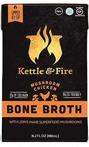 4 Mushroom Chicken Bone Broth- Collagen & Gelatin Rich Bonebroth for Ketogenic Diet or Paleo Keto Snack w Lion's Mane & 10g Protein. Gluten Free Gut & Digestive Friendly Nutrition from Ancient Source