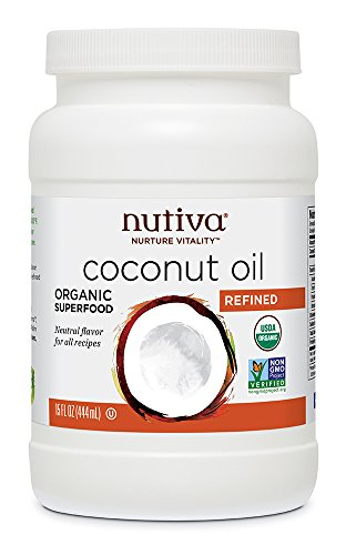 Nutiva Organic, Neutral Tasting, Steam Refined Coconut Oil from non-GMO, Sustainably Farmed Coconuts, 15 Fluid Ounces
