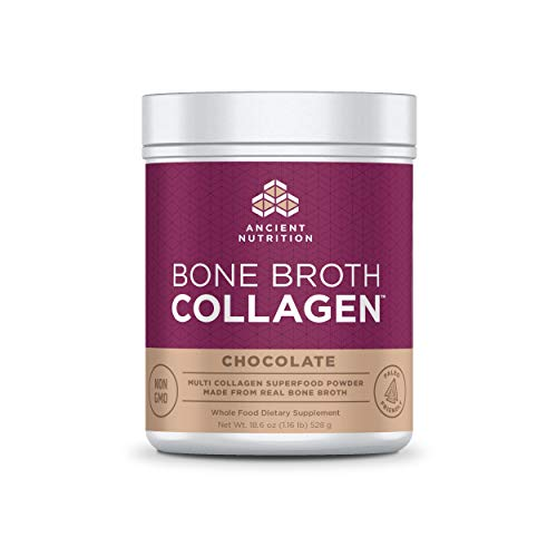 Ancient Nutrition Bone Broth Collagen Powder, 30 Servings of All-Natural Protein Powder Loaded with Bone Broth Co-Factors, 10g of Type I, II and III Collagen Per Serving (Chocolate), 18.6 Ounce