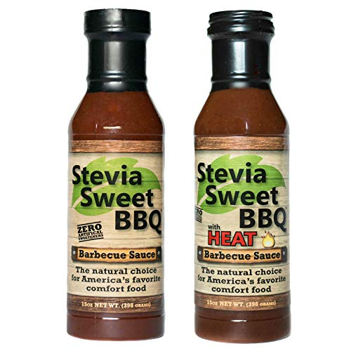 Stevia Sweet BBQ Sauce | Low Sugar (1g), Low Carb, Low Sodium, Gluten & Fat Free | Paleo & Keto Diet Friendly Barbecue Sauce | Zero Artificial Sweeteners (2 x 15 oz (1 Spicy + 1 Original))
