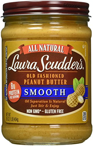 Laura Scudder's Old Fashioned Smooth Peanut Butter, 16-Ounce Glass Jars (Pack of 6)