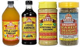 Bragg's Nutritional Variety Collection Includes: Apple Cider Vinegar, Liquid Amino Acids, Nutritional Yeast Seasoning, and Organic Herbs And Spices Seasoning - Sea Kelp