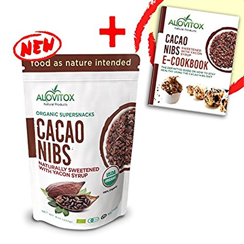 Cacao Nibs Naturally Sweetened with Yacon Syrup - Zero Sugar Keto Paleo and Vegan Friendly - Criollo Raw Cocoa Chocolate Nutritional Protein Snack - USDA Organic 8oz by Alovitox