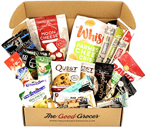 LOW CARB Healthy Snacks Care Package (20ct): Low Carb, Low Sugar, Healthy Fats, Protein Bars, Crispy Cheese, Crisps, Grass Fed Meat Sticks, Nuts, Healthy Low Carb Snack Gift Box Basket Variety Pack