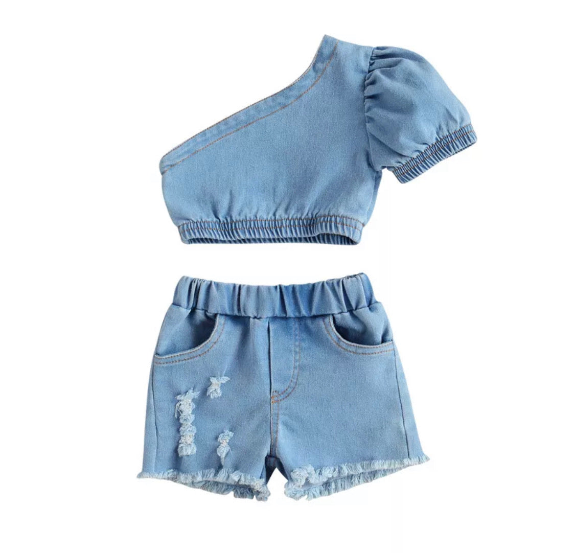 Denim things short set