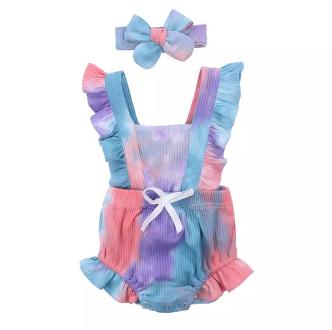 Tie dye ruffle romper purple/blue