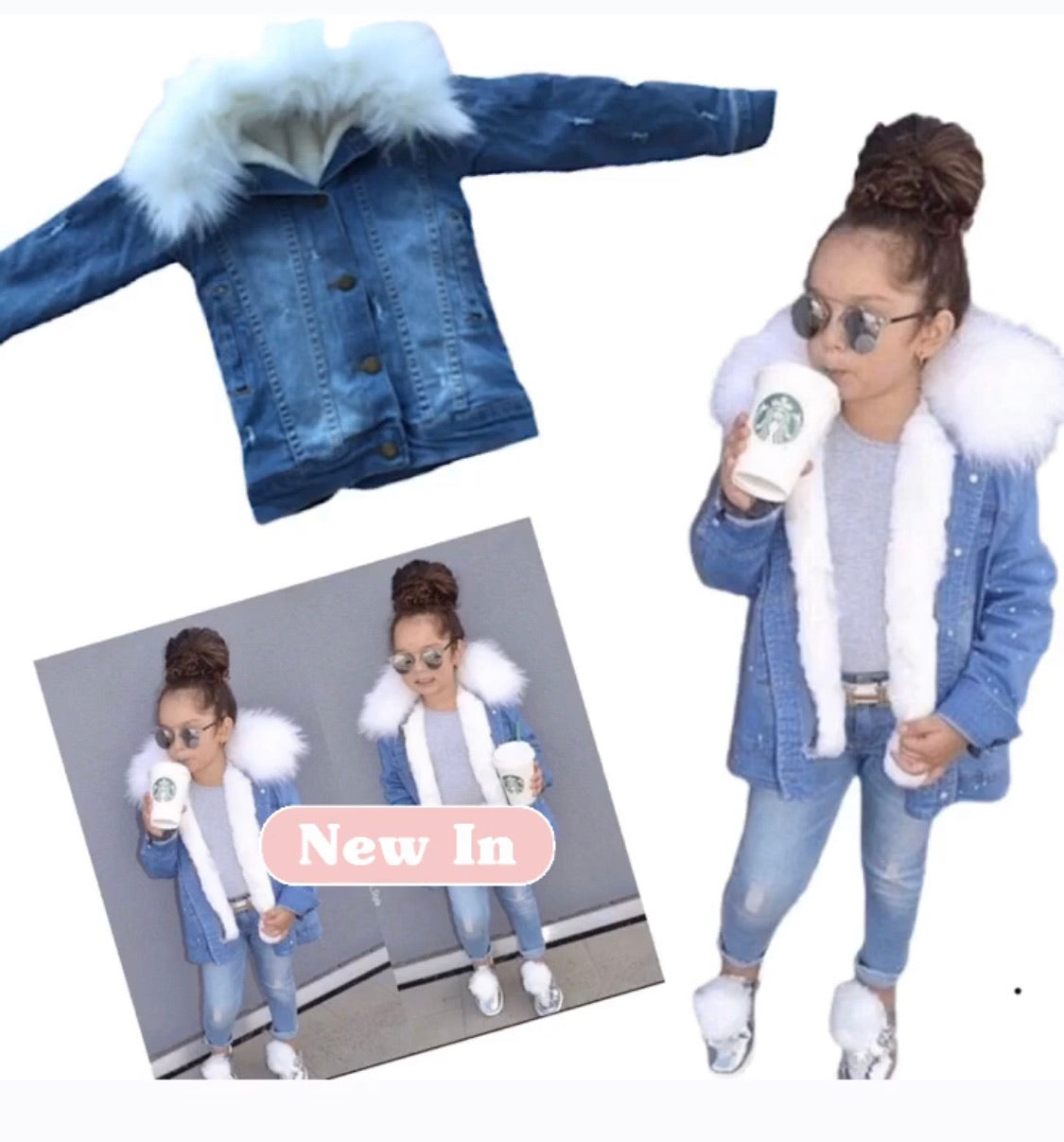 Distressed denim fur trim jacket