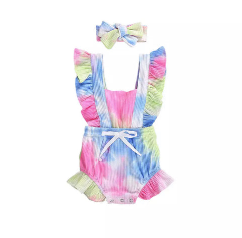 Copy of Tie dye ruffle romper pink/blue