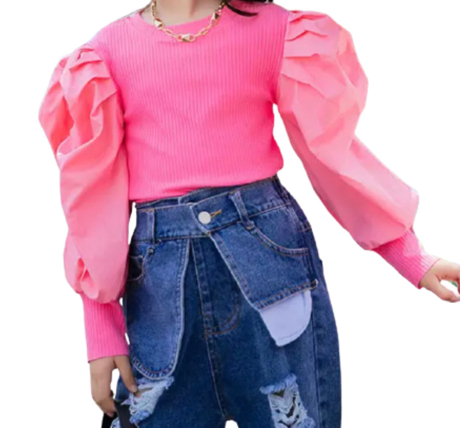 Ruffle sleeve top pink
