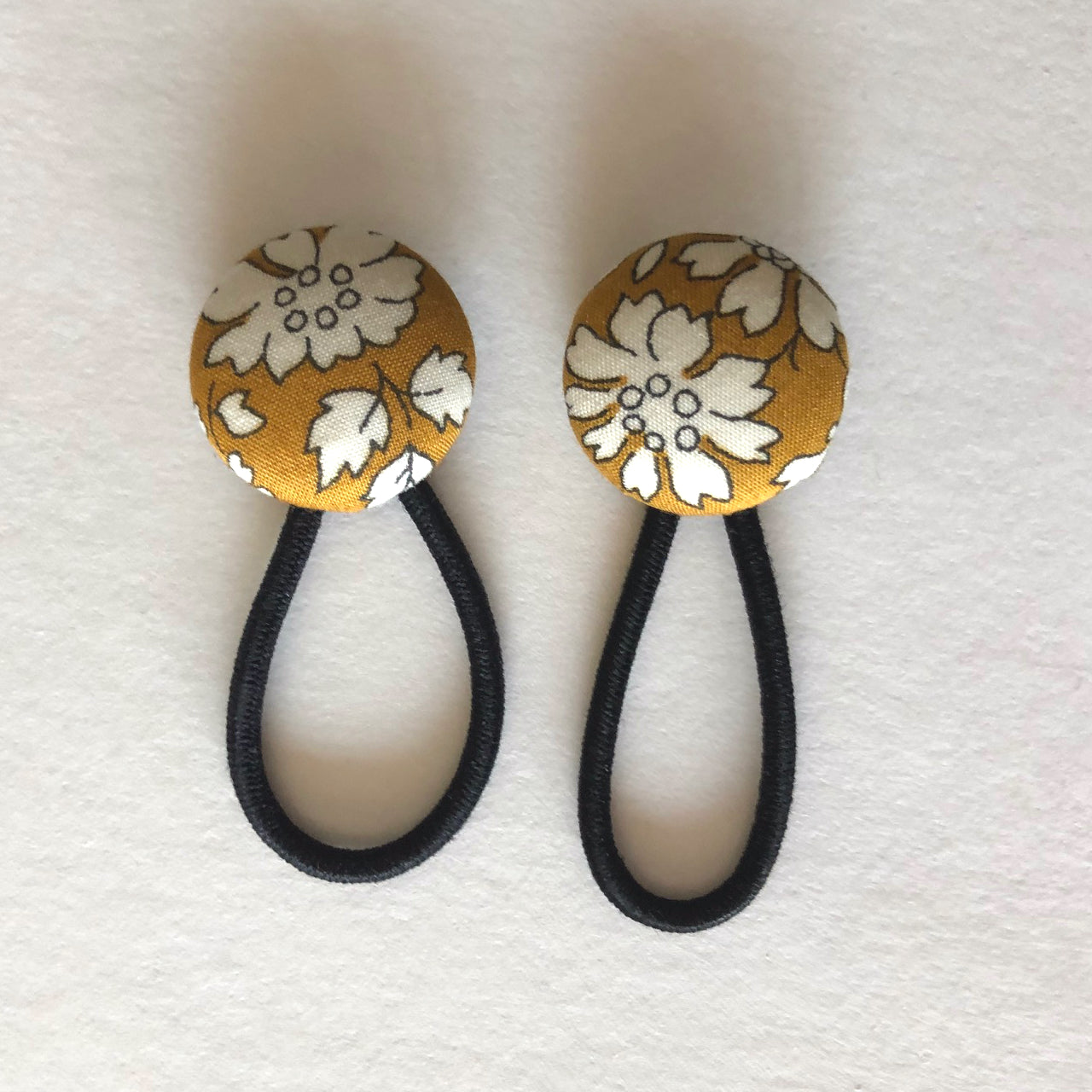 Mustard Floral Liberty of London Fabric Button Hair Ties for Pigtails - Babychelle.com