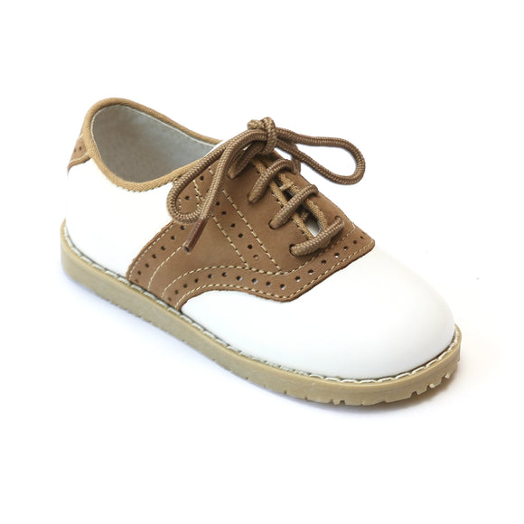 L'Amour Boys 042 White/Khaki Leather Oxfords - Babychelle