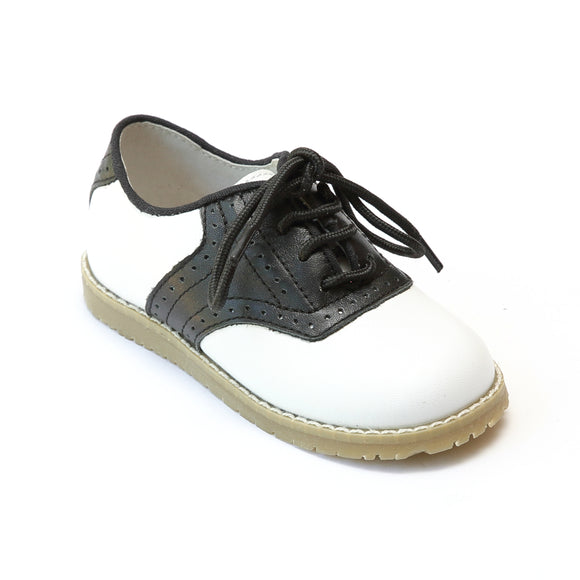 L'Amour Boys 042 White/Black Leather Oxfords - Babychelle.com