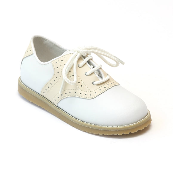 L'Amour Boys Beige Saddle Leather Oxfords - Babychelle.com