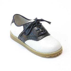 L'Amour Boys 042 White/Navy Leather Oxfords - Babychelle.com