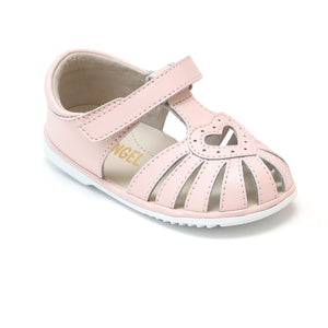 Baby Girls Pink Open Heart Leather Caged Sandal - Babychelle.com