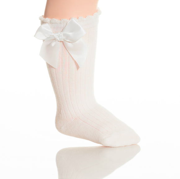 Girls White Cotton Bow Knee Socks - Babychelle.com