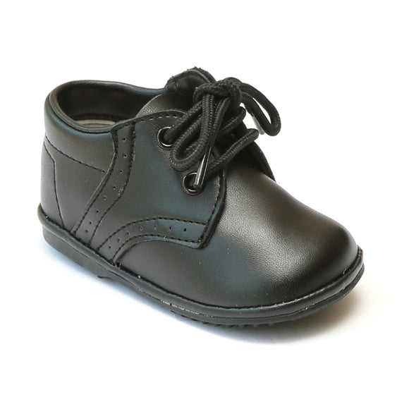 Angel Infant Boys 2157 Black Leather Dress Lace Up Oxfords - Babychelle.com