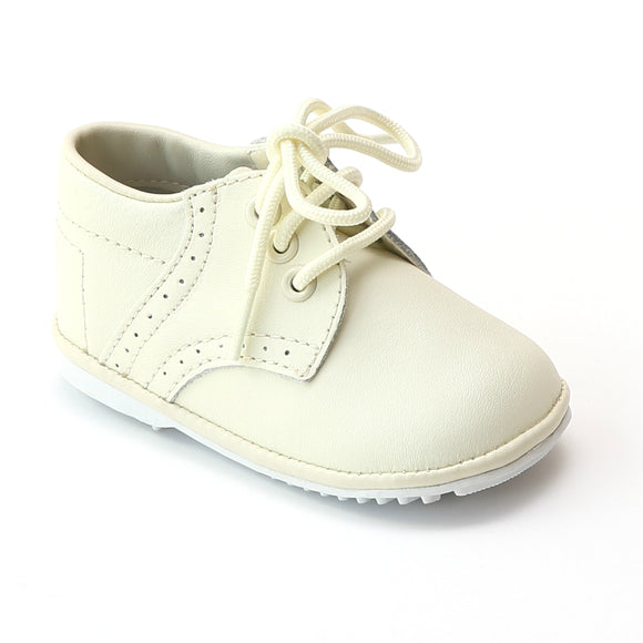Angel Infant Boys 2157 Ecru Cream Leather Dress Lace Up Oxfords - Babychelle.com