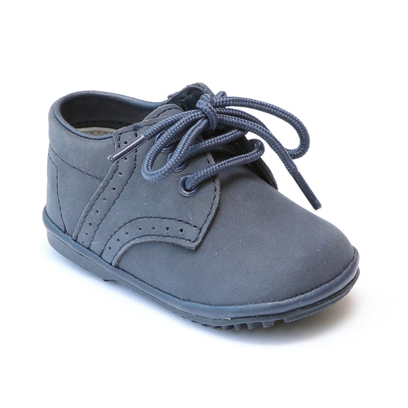 Angel Infant Boys 2157 Nubuck Navy Leather Dress Lace Up Oxfords - Babychelle.com