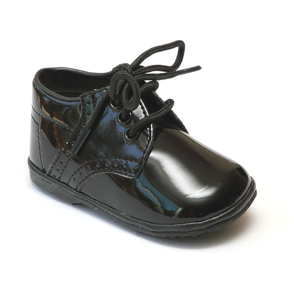 Angel Infant Boys 2157 Patent Black Leather Dress Lace Up Oxfords - Babychelle.com