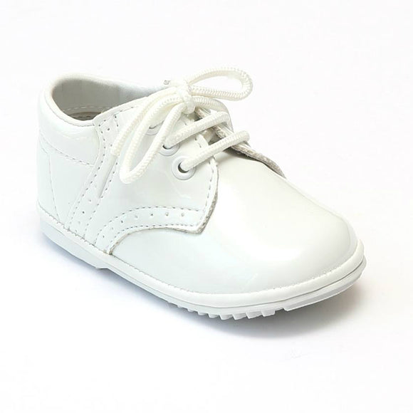 Angel Infant Boys 2157 Patent White Leather Dress Lace Up Oxfords - Babychelle.com