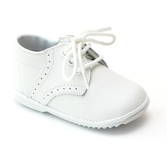 Angel Infant Boys 2157 White Leather Dress Lace Up Oxfords - Babychelle.com