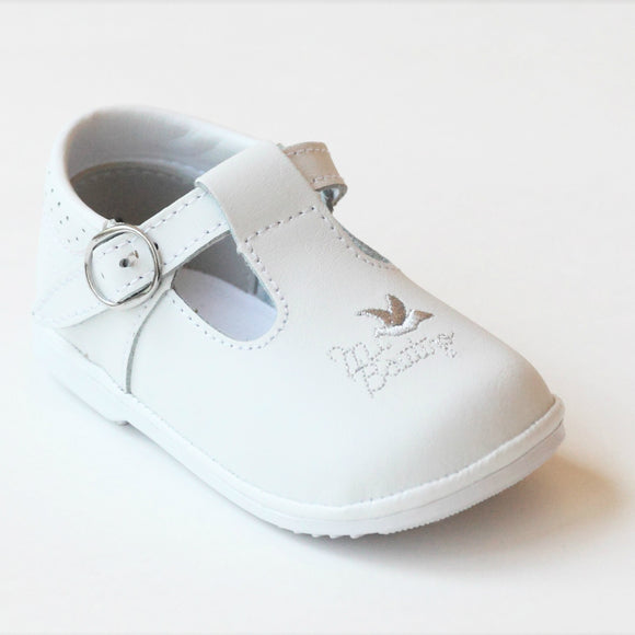 Angel White Leather Mi Bautizo T-Strap Mary Janes