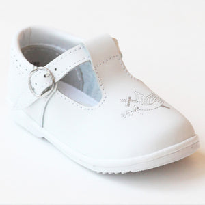 Angel White Leather Baptism T-Strap Mary Janes