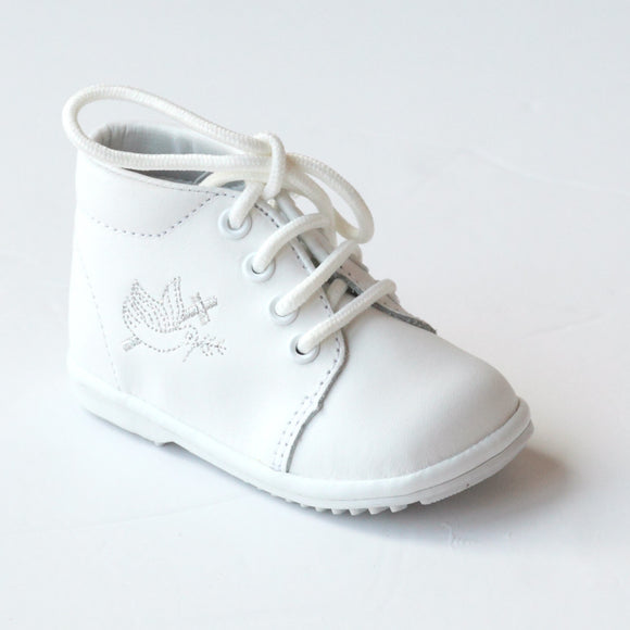 Angel Baby Boys White Baptism Lace Up Oxford Shoes