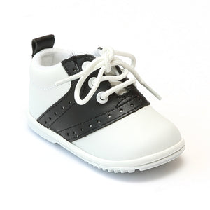 Angel Infant Boys 2342 White Black Lace Up Oxfords - Babychelle.com