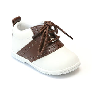 Angel Infant Boys 2342 White Brown Lace Up Oxfords - Babychelle.com