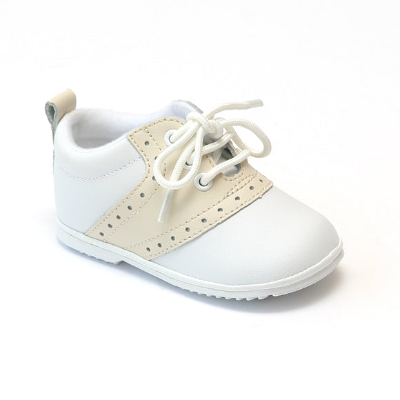 Angel Baby Boys Beige Lace Up Saddle Oxfords - Babychelle.com