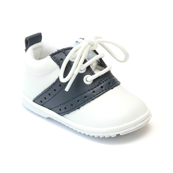 Angel Infant Boys 2342 White Navy Lace Up Oxfords - Babychelle.com