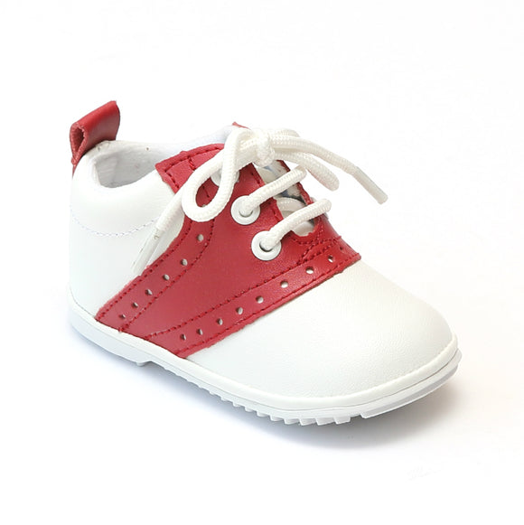 Angel Infant Boys White Red Lace Up Oxfords - Babychelle.com
