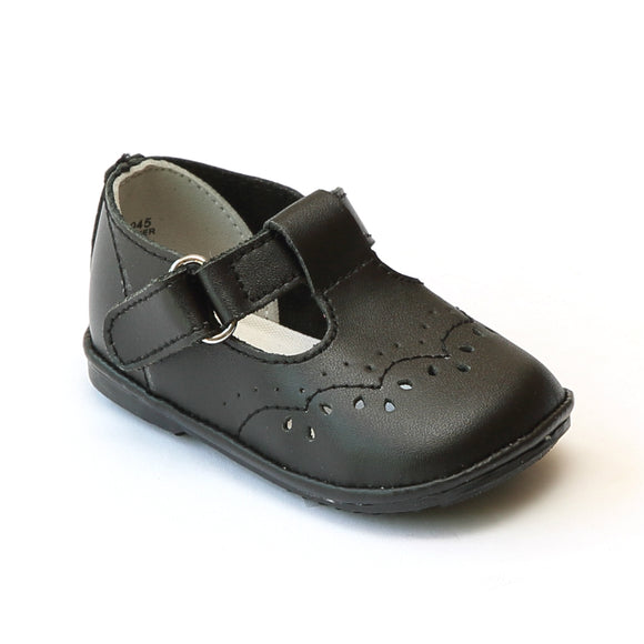 Angel Infant Girls 2945 Black Leather T-Strap Mary Janes - Babychelle.com