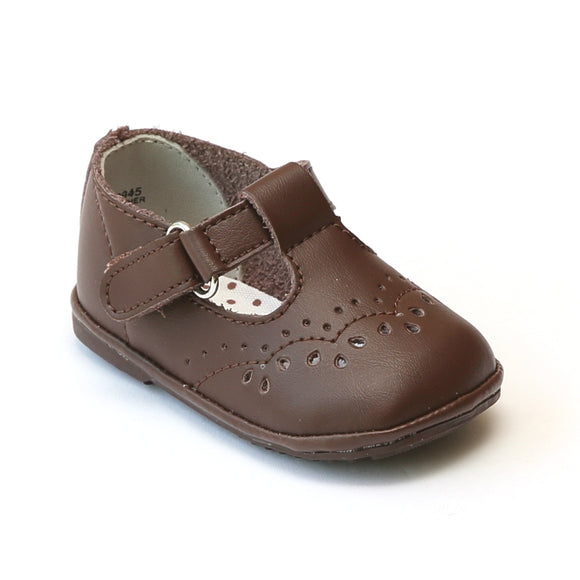 Angel Infant Girls 2945 Brown Leather T-Strap Mary Janes - Babychelle.com