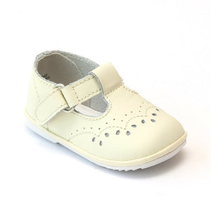 Angel Infant Girls 2945 Ecru Leather T-Strap Mary Janes - Babychelle.com