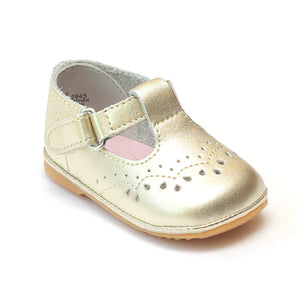 Angel Infant Girls 2945 Gold T-Strap Mary Janes - Babychelle.com