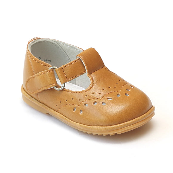 Angel Infant Girls Mustard Golden Yellow T-Strap Mary Janes - Babychelle.com