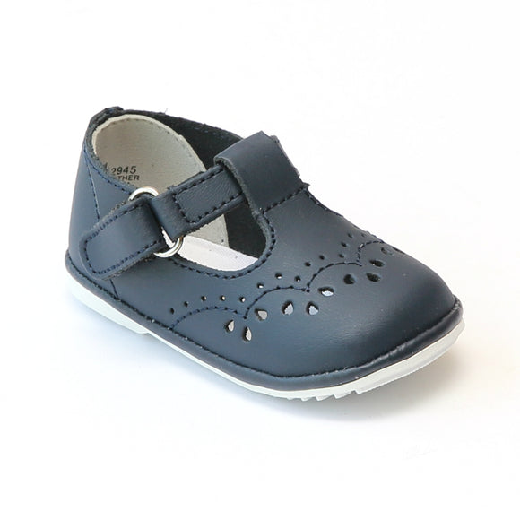 Angel Infant Girls 2945 Navy Leather T-Strap Mary Janes - Babychelle.com
